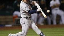 Кадър от бейзболната среща на Хюстънските Астърс и Оклахонските Атлети във Оклахонд, Калифорния.