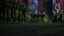 Руски войници участват в репетицията за военен парад в Москва, Русия. Русия ще проведе военния парад на Деня на победата на 09 май 2019 г., за да отбележи 74-ата годишнина от капитулацията на нацистка Германия през 1945 година.