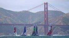 Първото състезание на кораби от цял свят в залива Сан Франциско, Калифорния, САЩ. Отбори от САЩ, Великобритания, Франция, Япония, Китай и Австралия се състезават във втората серия на SailGP регата.