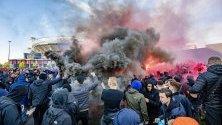 Привържениците на Аякс развеселени преди Шампионската лига на УЕФА. Втори футболен мач между Аякс и Тотнъм Хотспър в Амстердам, Холандия се проведе на 08 май 2019 г