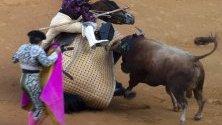 Кадър на борбата между бик и тореадора Ел Джули по време на борбите провеждани всяка година в Испания. Според данните не е имало пострадали.