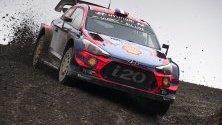 Себастиан Льоб управлява своя Hyundai i20 Coupe WRC, по време на ралито Чили 2019, Талкахуано, Чили.