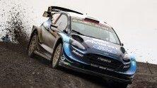 Елфин Еванс управлява своя Форд Фиеста WRC, RC1 по време на ралито Чили 2019, Талкахуано, Чили.
