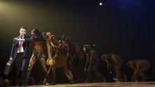 Артисти от цирка Cirque du Soleil свирят на сцената по време на премиерата на шоуто Totem в Женева, Швейцария.