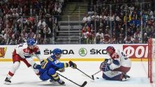 Хокейната среща на между Чехия и Швеция на Световното първенство IIHF в Арена Ондрей Непела в Братислава, Словакия.