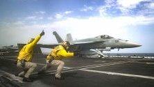 Американският флот по време на полет с  F / A-18E Super Hornet в Арабско море.