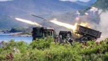 Военно учение на плажа в Pingtung County, южен Тайван. Учението е част от годишните военни учения на Хан Куанг, проведени с цел да се провери защитата на Тайван срещу хипотетична атака на Китай.