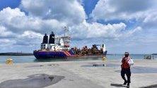 На снимката е показано пристанището Дос Бокас в Табаско, Мексико. Президентът на Мексико Андрес Мануел Лопес Обрадор откри новата корабостроителницата на рафинерията Дос Бокас.