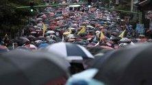 Стотици професори протестират срещу няколко образователни законопроекта, които се обработват от Конгреса в Сан Хосе, Коста Рика.