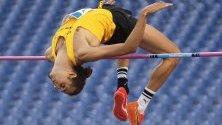 Италианецът Джанмарко Тамбери се състезава в дисциплина скок на мъже в състезание, част от Диамантената лига на ИААФ на олимпийския стадион в Рим, Италия.