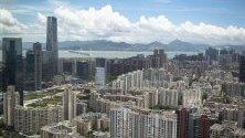 Общ изглед град Шенжен показва апартаменти и офис сгради. Шенжен е град с 12 милиона и притежава специална икономическа зона в Китай.