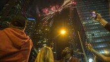Фенове на Торонто Раптърс празнуват в Торонто, Канада.