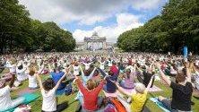 Голяма група хора участват в шестото издание на Денят на йогата  в Jubelpark, Брюксел, Белгия.