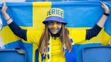 Фен преди мач от Световната купа при жените на ФИФА 2019 между Швеция и САЩ в Хавър, Франция.