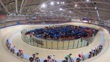 Велосипедисти в действие на финала на състезанията по колоездене на  Европейски игри 2019 в Минск, Беларус.