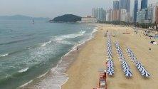 Плажът Haeundae в Пусан, Южна Корея.