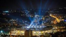 Стадион Сан Паоло по време на церемонията по откриването на Универсиада 2019 в Неапол, Италия.