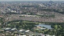 Въздушен поглед на градините на Уимбълдън, Лондон, Великобритания.