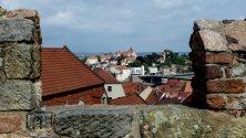 Изгледът показва историческия център на град Майсен, Германия. Град Майсен е известен с производството на порцелан.