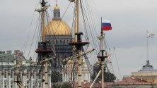 """Платноходката """"Poltava"""", която ще води парада на военните кораби в Денят на руския Военноморски флот в Санкт-Петербург, Русия."""