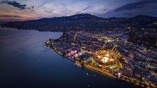 """Снимка, направена с дрон за арената на """"Fete des Vignerons"""" (френски фестивал на винопроизводителите), Веве, Швейцария."""