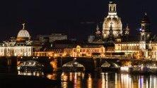 """Гледка към катедралата """"Фрауенкирхе"""" и Академията за изящни изкуства, Дрезден, Германия."""