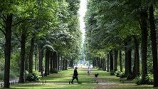 Хора се разхождат из парк Тиргартен в Берлин, Германия. Тиргартен е вторият по големина градски парк в страната.