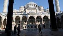 Туристи си правят снимки пред Сюлейман джамия в Истанбул, Турция.