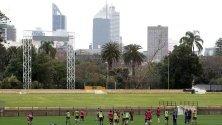 Играчите на Wallabies в действие по време на тренировка Пърт, Австралия.
