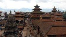 Гледка към площад  Дурбар в Лалитпур, Непал.