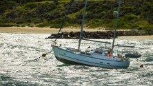 Лодки се разклащат от силни ветрове в залива Ботани, в Сидни, Нов Южен Уелс ,Австралия.