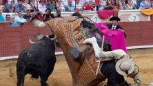 Битка между тореадор и бик в Куенка, Испания.