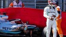 Петкратният световен шампион Люис Хамилтън разби своя болид по време на последната тренировка за Гран При на Белгия.