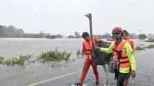 Спасител помага на щраус от наводнена територия в северната провинция Ясотон, Тайланд. Наводненията, причинени от тропическата буря Подул, засегнаха няколко провинции и стотици хиляди хора.