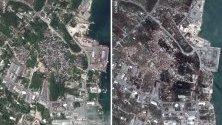 Сателитни снимки преди и след преминаването на урагана Дориан през Бахамите. До момента загиналите са 30, но се очаква да се увеличат през следващите дни.