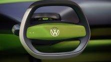 Воланът на електромобил Volkswagen ID Buggy по време на автомобилното изложение IAA във Франкфурт, Германия.