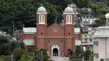 Възстановената катедрала Ураками в Нагасаки, югозападна Япония.