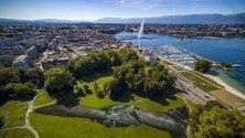 Гигантска биоразградима картина, дело на твореца Saype, се появи в Женева. Тя се простира на 5000 кв/м и е дълга 165 м и 30 м широка.