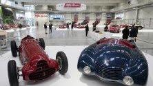 Изложени модели Алфа Ромено на изложба, посветена на марката в Технически музей в Зинсхайм, Германия.