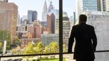 Председателят на Европейския съвет Доналд Туск гледа към Ню Йорк от стаята, в която проведе среща за Brexit с британския премиер Борис Джонсън. Двамата са в Ню Йорк за среща на Общото събрание на ООН.