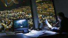 Преводач по време на реч на иранския президент Хасан Рухани на 74-тата сесия на Общото събрание на ООН в Ню йорк.