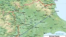 Границите в Тракия според Цариградския договор (в червено)