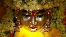 Хинду богинята Дурга по време на фестивала Навратри в Бангалор. По време на деветдневния фестивал хората държат различни идоли в домовете си.