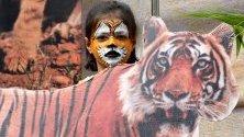 Дете с изрисувано лице позира до снимка по време на Седмицата на дивата природа в националния парк Ван Вихар в Индия.