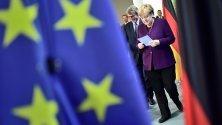 Германският канцлер Ангела Меркел и президентът на Европарламента Давид Сасоли преди разговори в Берлин.