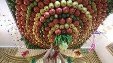 Самарянин от Наблус довършва декорацията на тавана си, направена от плодове цитрон, за еврейския празник Сукот. Той започна на 12 октомври и продължава една седмица. С него се отбелязва спясавянето на евреите от Египет и странстването им из пустинята 40 години преди да стъпят на светите земи.