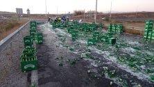 Камион разпиля 50-ина каси бира по Е-79 край Кочериново.