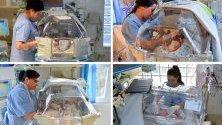 Новородени четиризнаци в Унгария - три момичета и едно момче. Те са родени след изкуствено оплождане в 32-рата седмица от бременността.