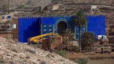 Снимачна площадка на филма `Eternals` на Дисни в пещерите Ахуй във Фуертевентура, Канарските острови.