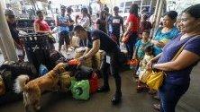 Полицай с обучено куче проверяват багажа на пътници на автогара в град Кезон, Филипини. Католиците в страната  се завръщат по родните си къщи за Деня на Вси светии.